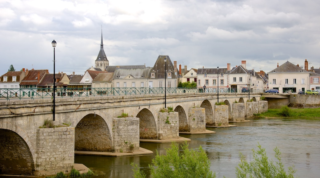 Selles-sur-Cher which includes a small town or village and a bridge