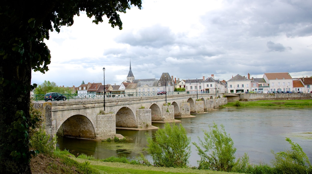 Selles-sur-Cher featuring a river or creek, a small town or village and a bridge