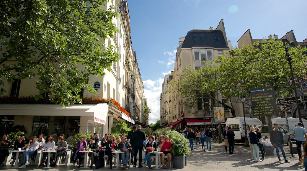 瑪黑區-龐比度-巴黎聖母院 其中包括 街道景色, 城市 和 戶外用膳