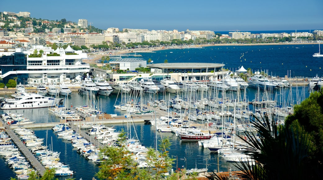 Cannes Harbour which includes a marina and a coastal town