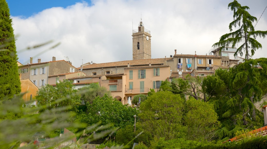 Mougins which includes heritage architecture and a small town or village
