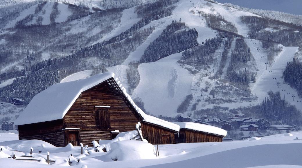 Steamboat Ski Resort mostrando escenas tranquilas, montañas y nieve