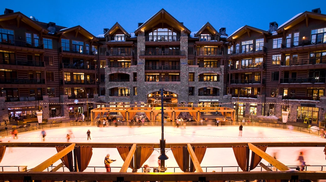Northstar California Resort which includes a hotel and ice skating as well as a small group of people
