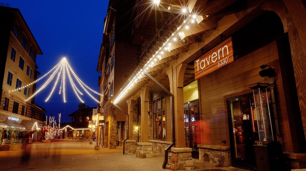 Northstar California Resort which includes night scenes and a small town or village