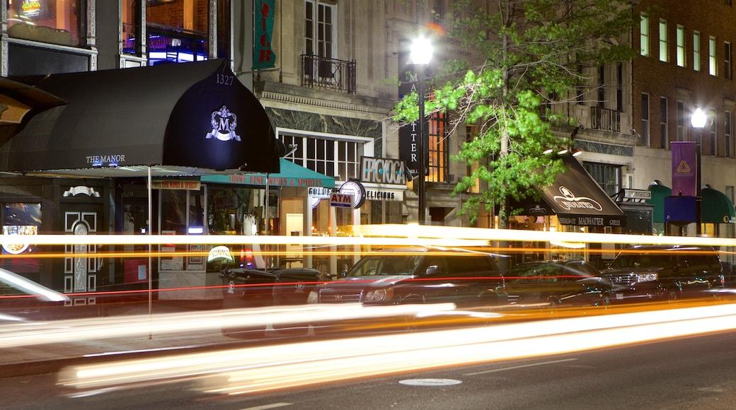 Centro de Washington D.C. mostrando escenas cotidianas, escenas nocturnas y una ciudad