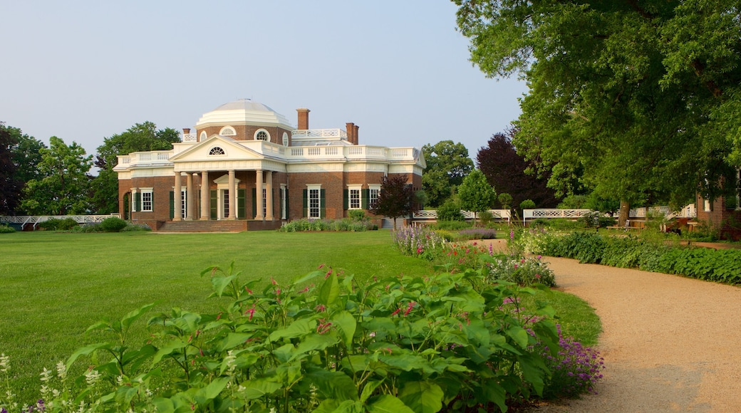 Monticello featuring a garden, a memorial and heritage architecture