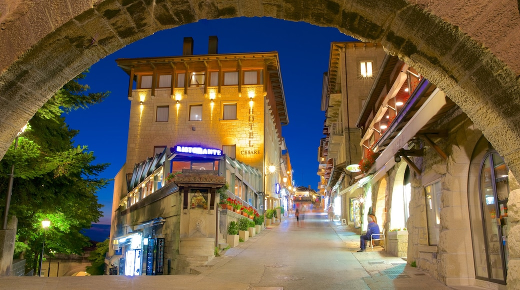 San Marino which includes a city, night scenes and a hotel