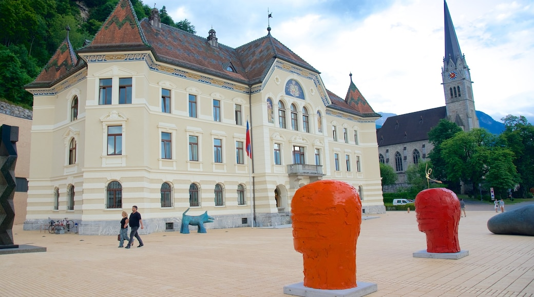 Vaduz showing an administrative buidling, heritage architecture and outdoor art