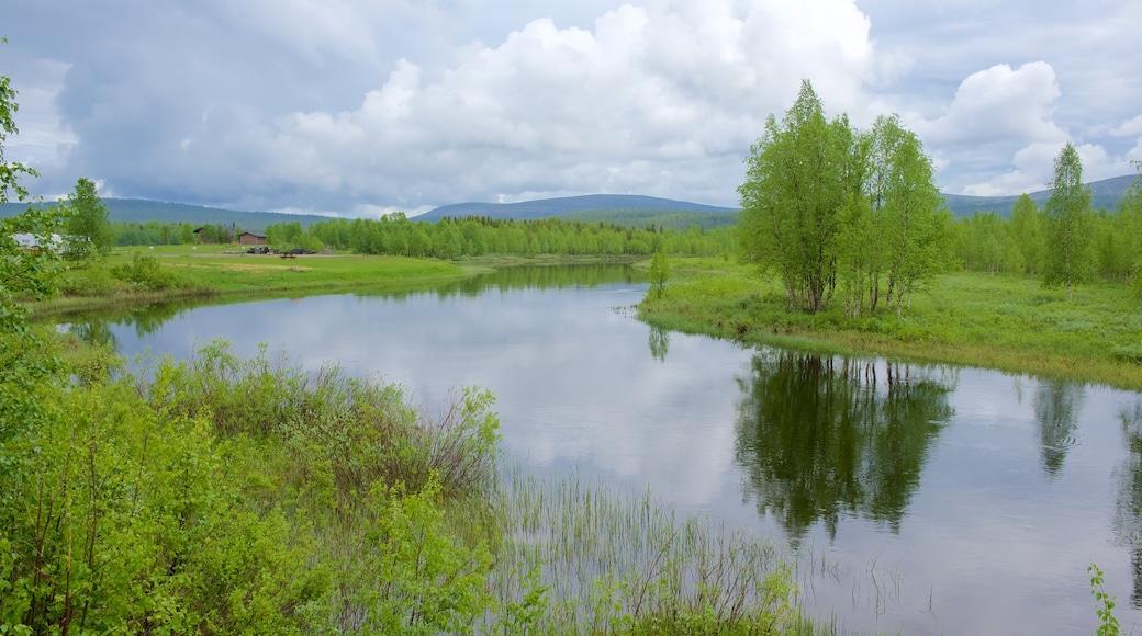 Äkäslompolo som inkluderer elv eller bekk, landskap og myr