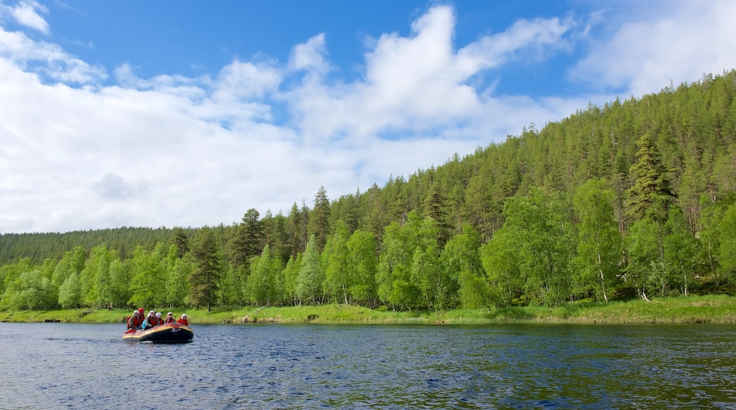 Ivalo presenterar en å eller flod, forsränning och stillsam natur