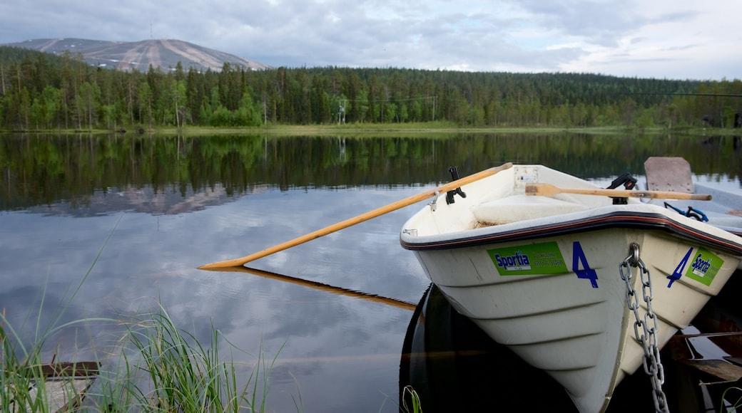 Pallas-Yllästunturin kansallispuisto johon kuuluu joki tai puro, rauhalliset maisemat ja kajakkimelonta tai melonta