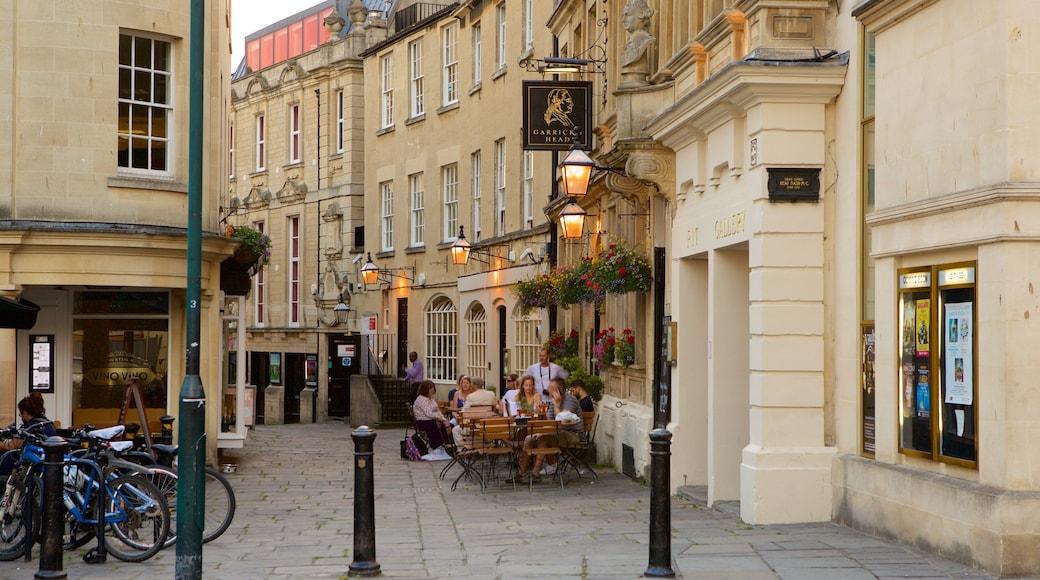 Bath Theatre Royal showing café lifestyle, heritage architecture and a city