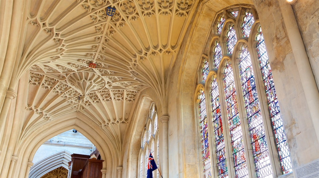 Bath Abbey which includes a church or cathedral, art and interior views