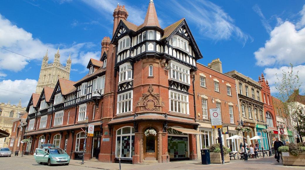 Gloucester mit einem Stadt, historische Architektur und Straßenszenen