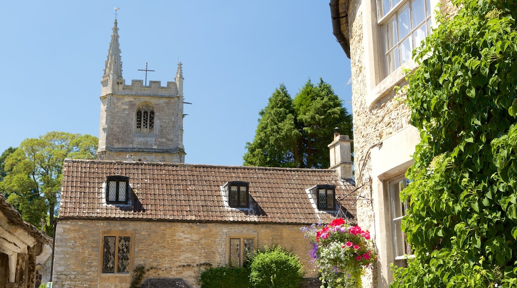 Castle Combe which includes religious aspects, a church or cathedral and heritage elements