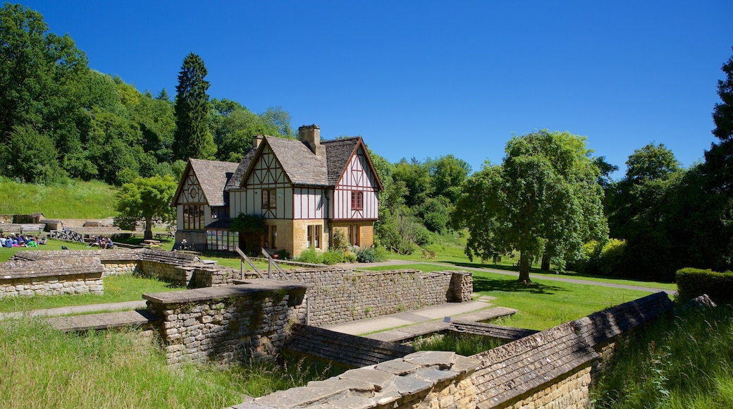 Chedworth Roman Villa featuring heritage elements, a house and a pond