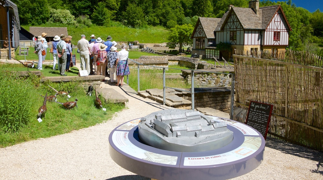Chedworth Roman Villa which includes a garden and a house as well as a large group of people