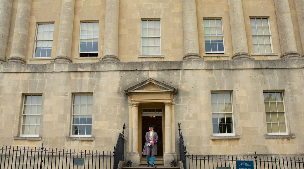 No. 1 Royal Crescent which includes a castle, heritage architecture and heritage elements