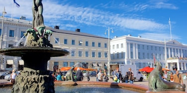 Kauppatori Market Square featuring a city, a fountain and a square or plaza
