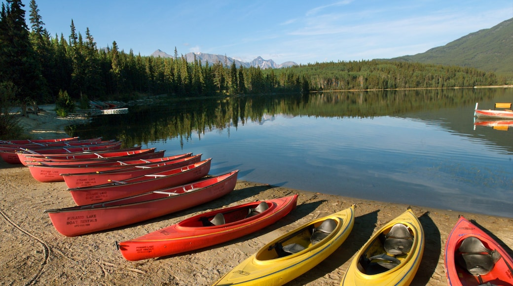 Pyramid Lake which includes tranquil scenes, a lake or waterhole and kayaking or canoeing