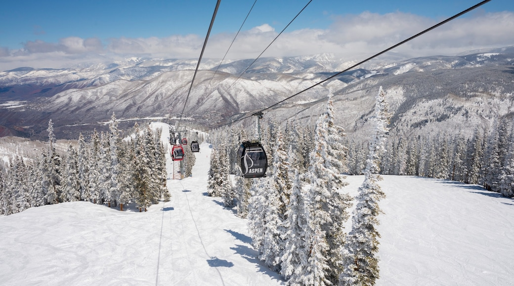 Aspen Mountain which includes landscape views, snow and mountains