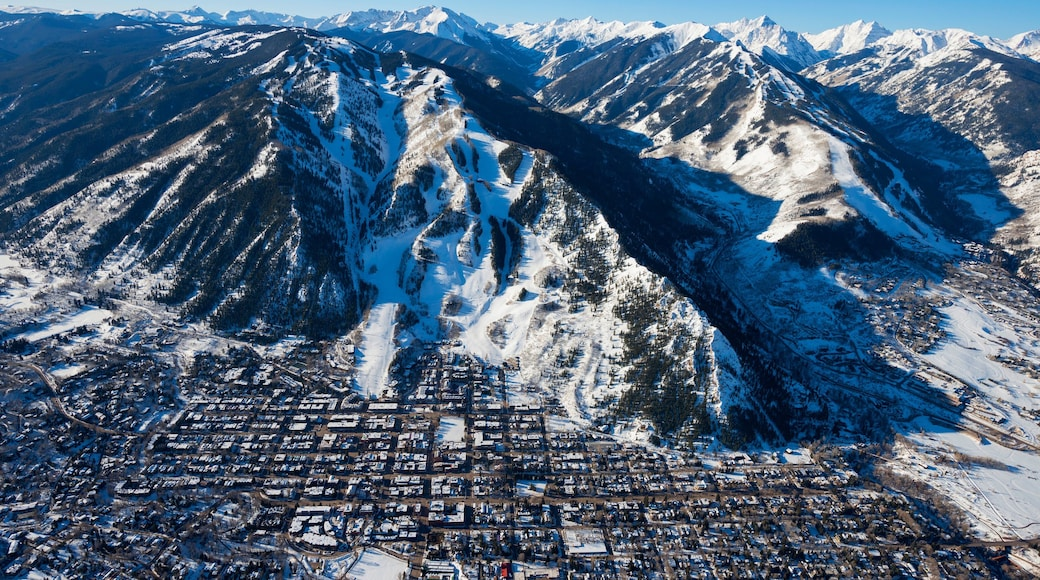 Aspen Mountain featuring snow, landscape views and a small town or village