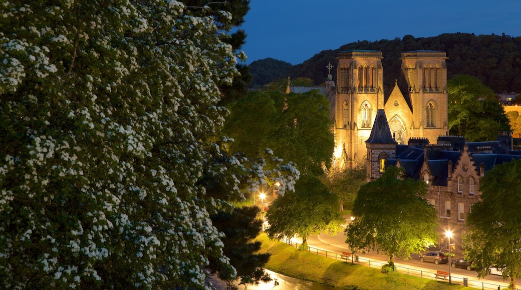 Inverness Cathedral featuring heritage elements, heritage architecture and night scenes