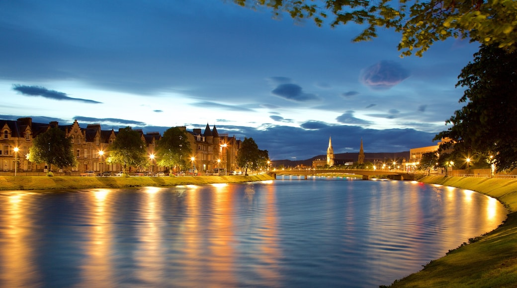Inverness which includes night scenes and a river or creek