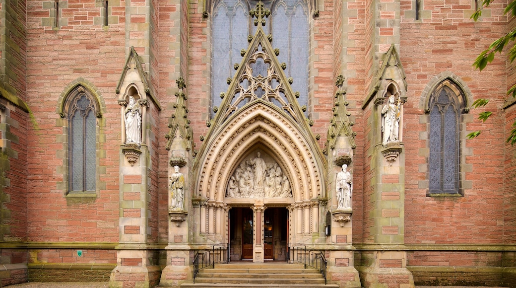Inverness Cathedral featuring a church or cathedral, heritage elements and heritage architecture