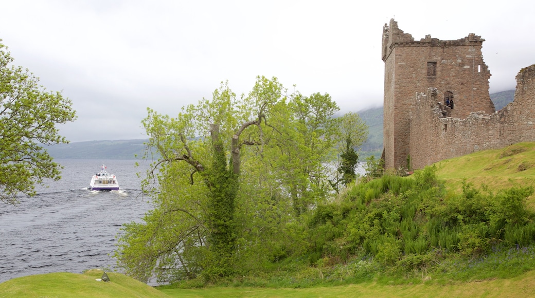 Urquhart Castle featuring building ruins and a lake or waterhole
