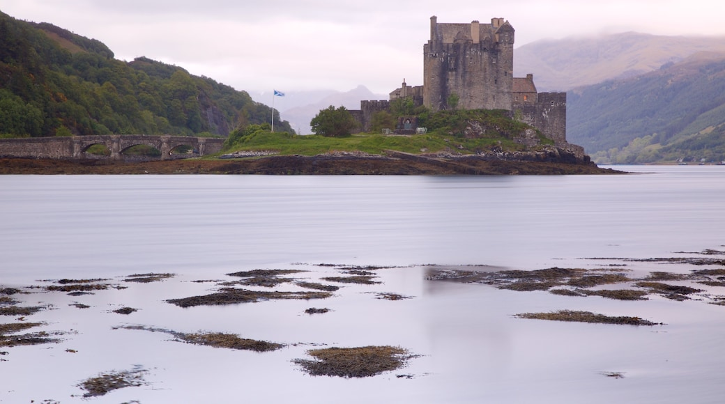 Eilean Donan Castle which includes heritage elements, a river or creek and château or palace