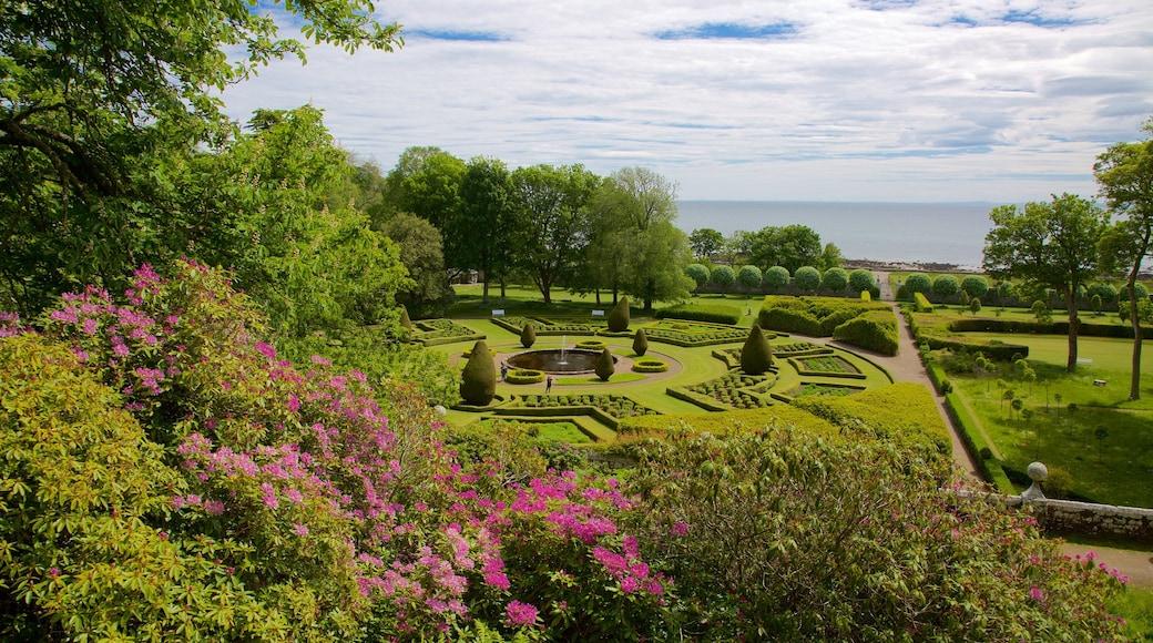 Castelo de Dunrobin mostrando um jardim, paisagens litorâneas e flores