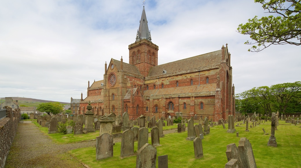 St. Magnus Cathedral which includes heritage architecture, a cemetery and a church or cathedral