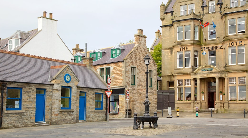 Stromness which includes a hotel and a square or plaza