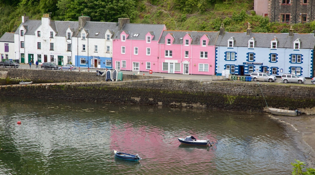 Portree Harbour featuring a bay or harbour and a coastal town
