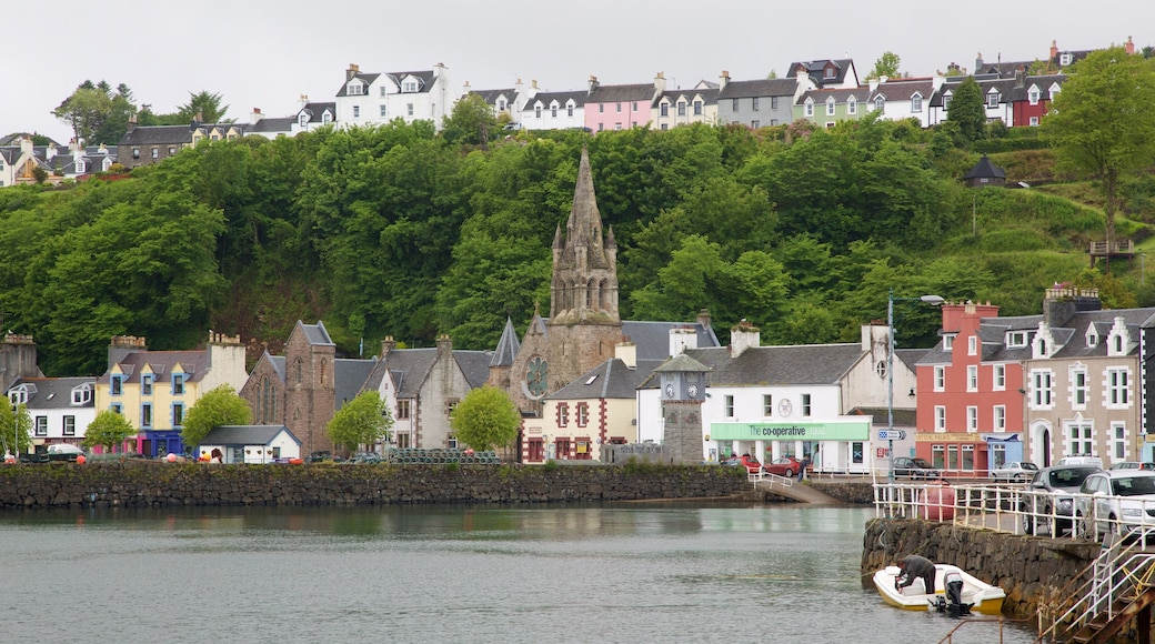 Isle of Mull which includes a bay or harbour, a church or cathedral and a coastal town