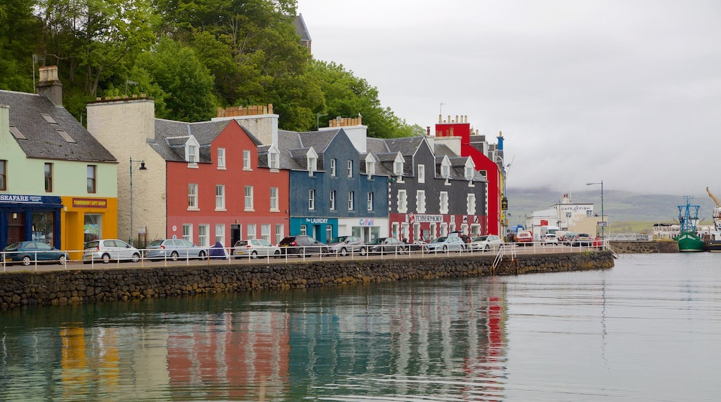Isle of Mull which includes a coastal town and a bay or harbour