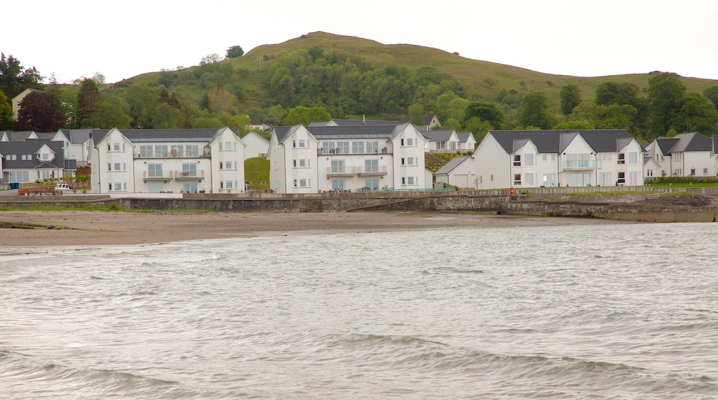 Ganavan Sands featuring a bay or harbour and a coastal town