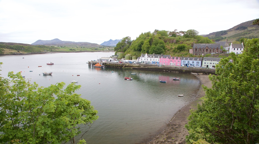 Portree Harbour which includes a bay or harbour, boating and a lake or waterhole