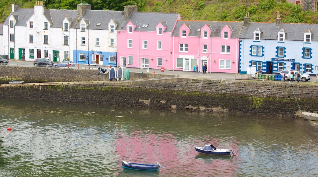 Portree Harbour which includes a coastal town, a bay or harbour and boating