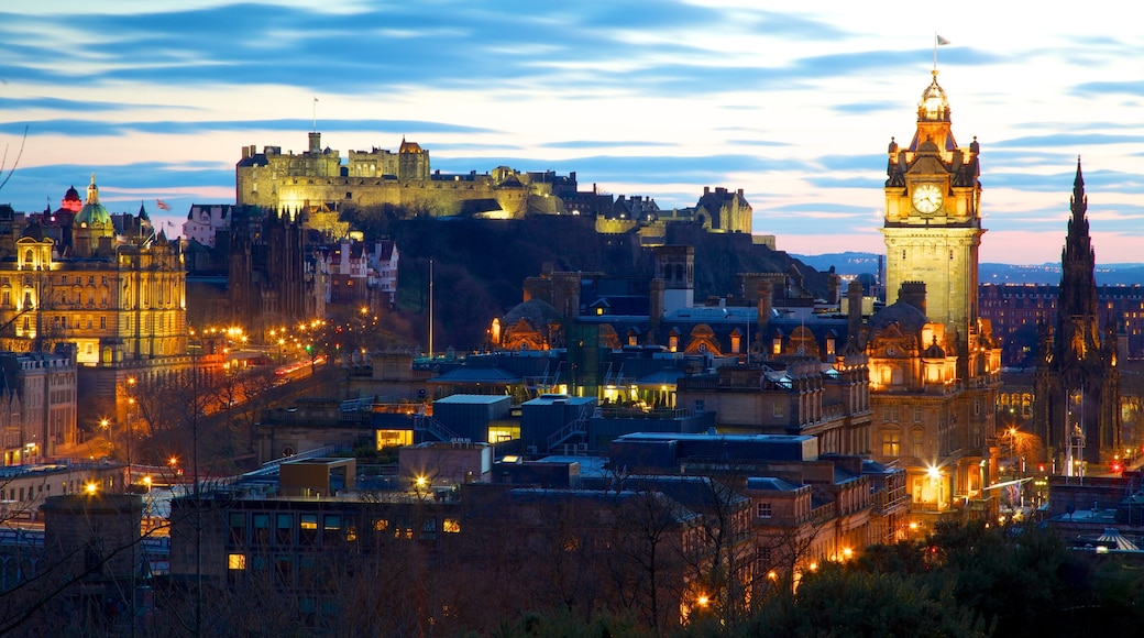 Calton Hill featuring a city, night scenes and heritage architecture