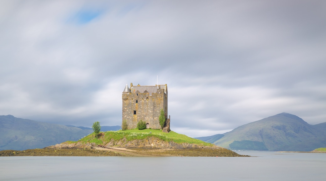 Castle Stalker which includes heritage architecture, heritage elements and a lake or waterhole