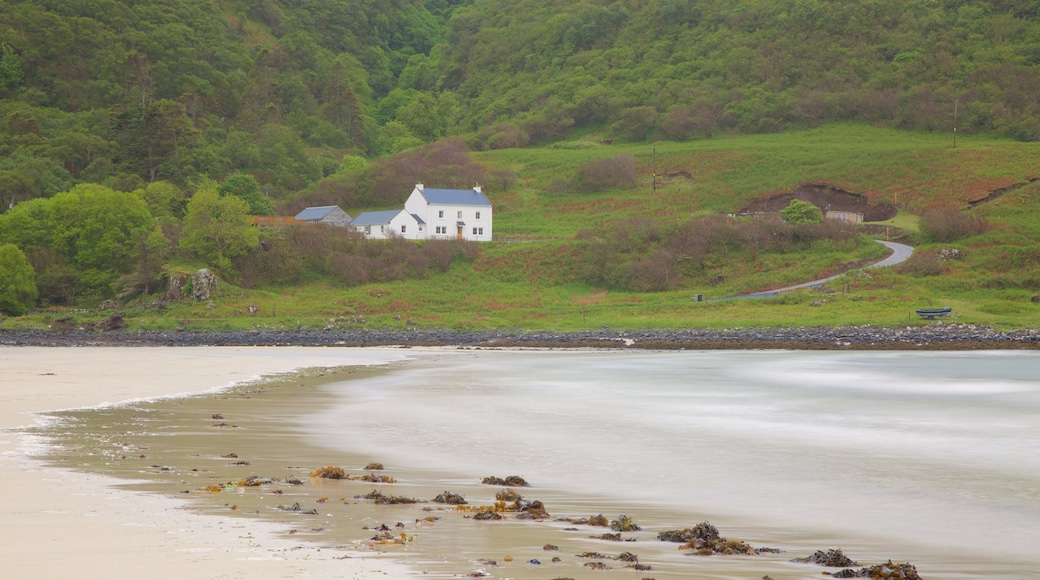 Calgary Bay Beach which includes a sandy beach, general coastal views and tranquil scenes