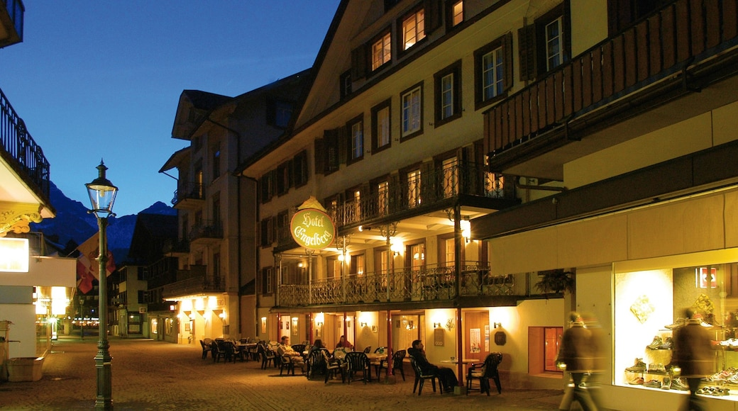 Engelberg which includes night scenes and street scenes
