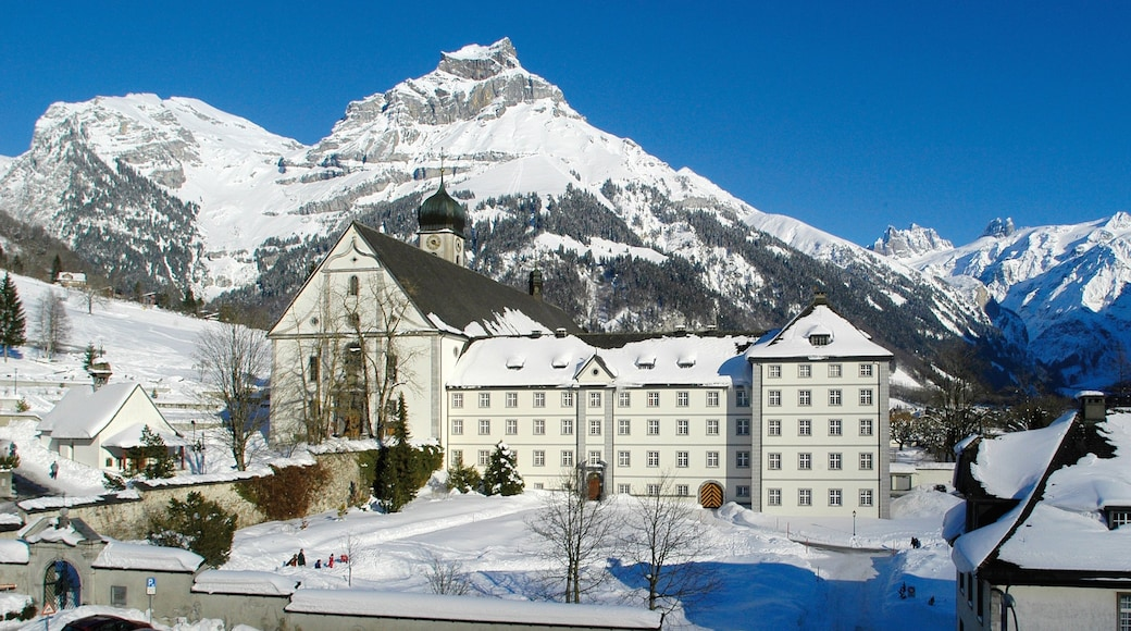 Engelberg which includes mountains, snow and chateau or palace