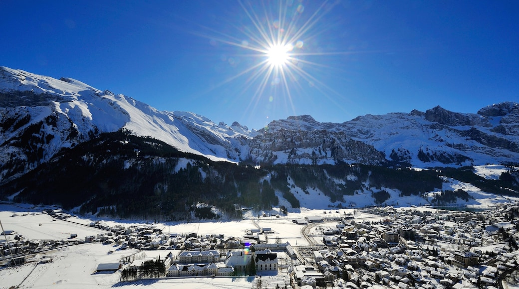 Engelberg featuring mountains, snow and a small town or village