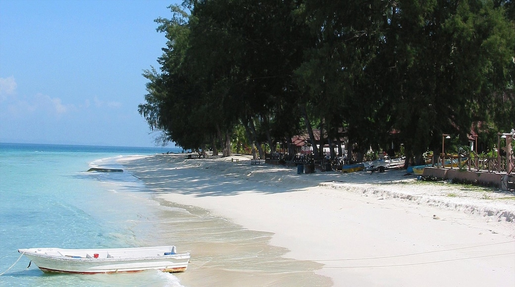 Johor showing a beach and a luxury hotel or resort