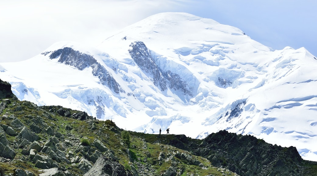 Mont Blanc which includes snow, hiking or walking and tranquil scenes