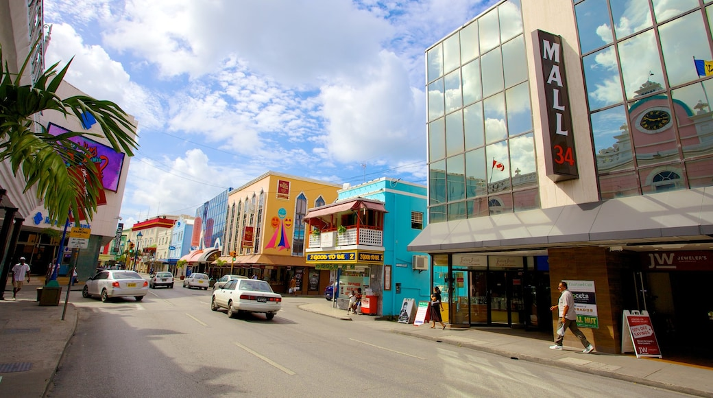 Bridgetown showing street scenes and a city