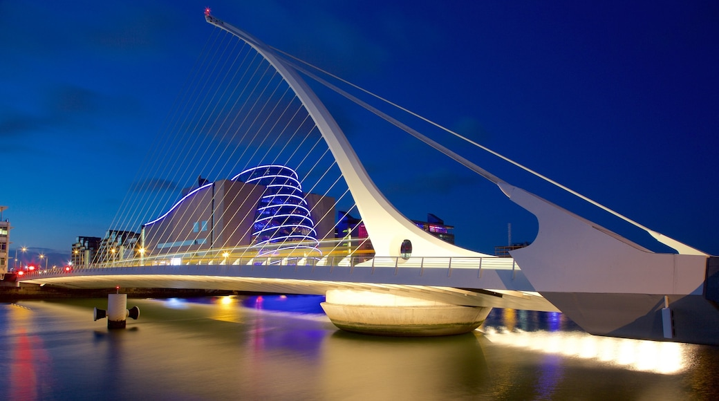 Dublin featuring a river or creek, modern architecture and night scenes